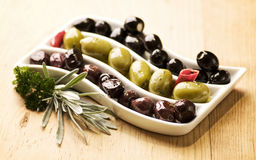 Three sorts of olives Stock Image
