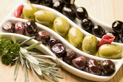 Three sorts of olives. Shallow DoF stock photography
