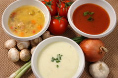 Three soups. Three bowls of different types of soup with vegetables surrounding the bowls Stock Image