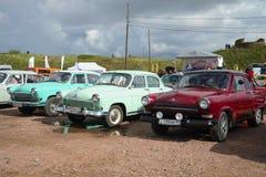 Three Soviet car Volga GAZ-21 at the exhibition of retro cars in Kronstadt Stock Photo