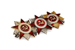 Three soviet medals of Second World War. On a white background Stock Photography