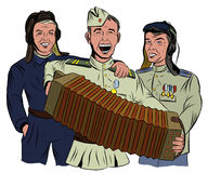 Three Soviet soldiers sing and play the accordion Royalty Free Stock Image