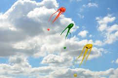 Three space invader kites. Flying Stock Images