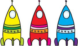 Three spacecrafts Royalty Free Stock Images