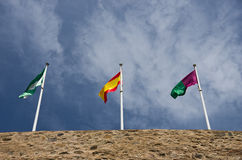 Three spain flags. Flags of andalusia spain and malaga Stock Photography