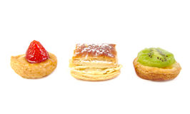 Three spanish pastelitos: small kiwi, strawberry Stock Photography