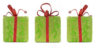 Three sparkling gift boxes for Christmas Royalty Free Stock Image