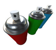 Three Sparys. Three Spray cans red, green and blue placed on a white background, also a metaphor for RGB colors Stock Photo