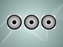 Three Speakers Abstract Vector. Layered  illustration of three graphic speakers on a sound wave background Stock Photography
