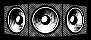 Free Three Speakers. Carbon Fiber Background. Vector Illustration. Elements For Design Royalty Free Stock Images - 198443859