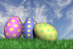 Three speckled easter eggs Stock Photo