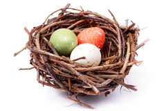 Three speckled eggs in nest Royalty Free Stock Photography