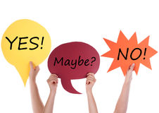 Three Speech Balloons With Yes Maybe No Stock Photo
