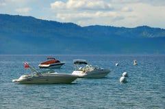 Three Speedboats on Lake Tahoe in California stock image