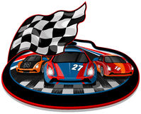 Three Speeding Racing Cars Stock Photography