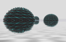 Three sphere shapes fload in water space Stock Photos