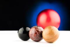 Three spherical natural stone royalty free stock photos