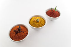 Three spicy bowls Royalty Free Stock Photos