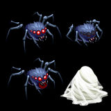Three spider with red eyes and a cocoon web Royalty Free Stock Image