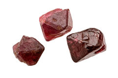 Three spinel crystals Royalty Free Stock Photos