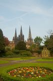 Three spires and gardens. Lichfield cathedral three famous spires Stock Photo