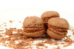 Three sponge drops from cocoa dough with cream and crumbs Stock Photography