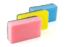 Three sponges for washing dishes Royalty Free Stock Photo