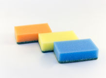 Three sponges for washing dishes on white background Stock Image