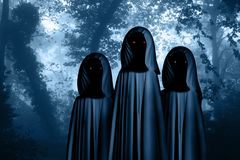 Three spooky monsters in hooded cloaks in misty forest. Three spooky monsters in hooded cloaks with glowing eyes in misty forest landscape. Photo toned in blue royalty free illustration