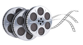Three spool film fly. Spool film on white background (done in 3d Royalty Free Stock Photo