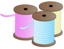 Three spools of thread. Three spool of colorful sewing thread - pink, blue and yellow - vector Royalty Free Stock Images