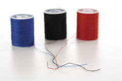 Three spools of thread, close-up Royalty Free Stock Photography