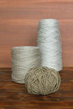 Three spools of thread Stock Images