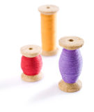 Three spools with threads Stock Photography