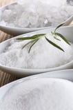 Three spoons with difrent salt Stock Photo