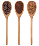 Three spoons freshly ground coffee, beans, granular Stock Image