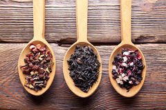 Free Three Spoons With Dried Assorted Tea Leaves Stock Photography - 71218102