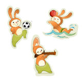 Three sport hares. Vector illustration of a three sport hares Royalty Free Stock Images