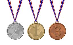 Three sport medals. (bronze, silver and gold) with ribbons, isolated on white background Stock Image