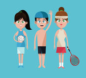 Three sport people tennis volleyball and swimming Royalty Free Stock Photos