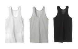 Three sport tank tops. White, grey and black Stock Image