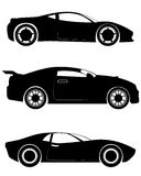 Three sportcar silhouettes. Vector illustration of a three sportcar silhouettes Royalty Free Stock Photos