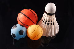 Three sports. Three major sports played in asia represented by the balls Royalty Free Stock Photography