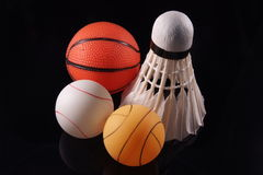 Three sports. Three major sports in asia represented by its balls Royalty Free Stock Photo