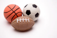 Three sports balls Stock Photo