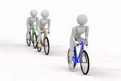 Three sports person biking Royalty Free Stock Photos