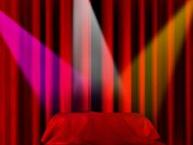 Three spot lights. Pointing to a blanket on a stage Stock Images