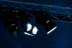 Three spotlights at a cross bar Royalty Free Stock Image