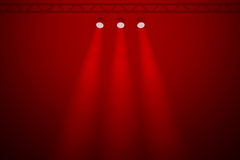Three spotlights on a red background Stock Photo