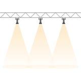 Three spotlights shining down. Illuminated rays background. Royalty Free Stock Photo